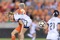 Houston, TX - Saturday July 08, 2017: Allie Long and Janine van Wyk battle for control of the ball during a regular season National Women's Soccer League (NWSL) match between the Houston Dash and the Portland Thorns FC at BBVA Compass Stadium.
