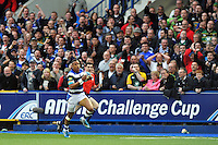 Anthony Watson breaks clear as Bath suppporters in the crowd cheer him on. Amlin Challenge Cup Final, between Bath Rugby and Northampton Saints on May 23, 2014 at the Cardiff Arms Park in Cardiff, Wales. Photo by: Patrick Khachfe / Onside Images