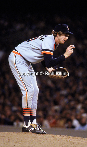 "1979:  Pitcher Mark ""The Bird"" Fidrych #20 of the Detroit Tigers on the mound during a game in the 1979 season.  (Photo by Rich Pilling)"