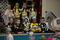 "NWA Democrat-Gazette/J.T. WAMPLER  Youngsters perform during the annual kindergartners musical production Monday March 11, 2018 at Holcomb Elementary School in Fayetteville. More than 150 kindergartners performed ""Prime Time Nursery Rhymes"" to a packed audience."