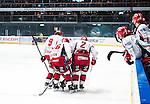 Stockholm 2013-12-28 Ishockey Hockeyallsvenskan Djurg&aring;rdens IF - Almtuna IS :  <br /> Almtuna Sebastian Hartmann har skadat sig i den f&ouml;rsta perioden och f&aring;r hj&auml;lp av isen av Almtuna Emil Larsson och Almtuna Fredrik Sandgren <br /> (Foto: Kenta J&ouml;nsson) Nyckelord:  skada skadan ont sm&auml;rta injury pain