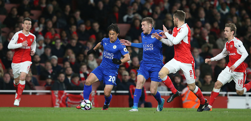 Leicester City's Shinji Okazaki<br /> <br /> Photographer Stephen White/CameraSport<br /> <br /> The Premier League - Arsenal v Leicester City - Wednesday 26th April 2017 - Emirates Stadium - London<br /> <br /> World Copyright &copy; 2017 CameraSport. All rights reserved. 43 Linden Ave. Countesthorpe. Leicester. England. LE8 5PG - Tel: +44 (0) 116 277 4147 - admin@camerasport.com - www.camerasport.com