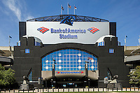 Exterior view photography of Bank of America Stadium, home of the NFL Carolina Panthers in Downtown/Uptown Charlotte, North Carolina. Bank of America Stadium is a 75,412-seat football stadium located on 33 acres of land in uptown Charlotte, North Carolina.<br /> <br /> Charlotte Photographer -PatrickSchneiderPhoto.com