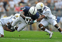 06 September 2014:  Akron's Devonte Morgan (7) and Kris Givens (21) tackle Penn State WR Eugene Geno Lewis (7). The Penn State Nittany Lions defeated the Akron Zips 21-3 at Beaver Stadium in State College, PA.