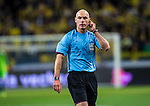 Solna 2013-11-19 Fotboll VM-kval Playoff , Sverige - Portugal :  <br /> Domare Referee Howard Webb talar i mikrofon<br /> (Photo: Kenta J&ouml;nsson) Keywords:  Sweden Portugal portr&auml;tt portrait