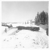 D&amp;RGW wreck of #498 and #497 on Feb, 10, 1960 west of Los Pinos.<br /> D&amp;RGW  Los Pinos, CO  2/1960