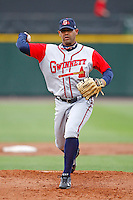 June 3, 2009:  Spot Starting Pitcher Vladimir Nunez of the Gwinnett Braves delivers a pitch during a game at Frontier Field in Rochester, NY.  The Gwinnett Braves are the International League Triple-A affiliate of the Atlanta Braves.  Photo by:  Mike Janes/Four Seam Images