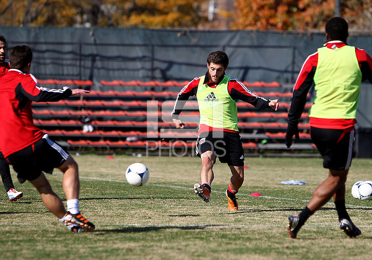 WASHINGTON, DC - NOVEMBER 14, 2012: Chris Kolb (22) of DC United during a practice session before the second leg of the Eastern Conference Championship at DC United practice field, in Washington, DC on November 14.