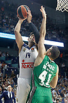 Real Madrid's Gustavo Ayon (l) and Darussafaka Dogus Istambul's Ante Zizic during Euroleague, playoffs, Game 2. April 21, 2017. (ALTERPHOTOS/Acero)