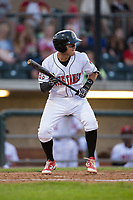 Alejo Lopez (5) of the Billings Mustangs shows bunt during the game against the Missoula Osprey at Dehler Park on August 21, 2017 in Billings, Montana.  The Osprey defeated the Mustangs 10-4.  (Brian Westerholt/Four Seam Images)