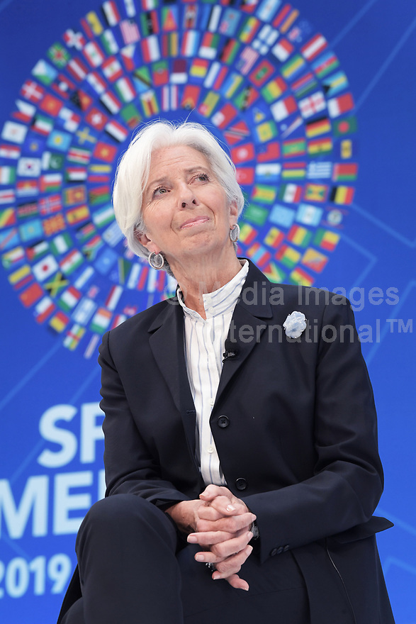 Washington, DC - April 10, 2019: IMF Managing Director Christine Lagarde delivers remarks about Rethinking International Cooperation during IMF/World Bank Spring Meetings 2019 at IMF Headquarters in Washington, D.C.  (Photo by Lenin Nolly/Media Images International)