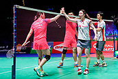 18th March 2018, Arena Birmingham, Birmingham, England; Yonex All England Open Badminton Championships; Yuta Watanabe (JPN) and Arisa Higashino (JPN) shake hands after winning in the mixed doubles final against Zheng Siwei (CHN) and Huang Yaqiong (CHN)