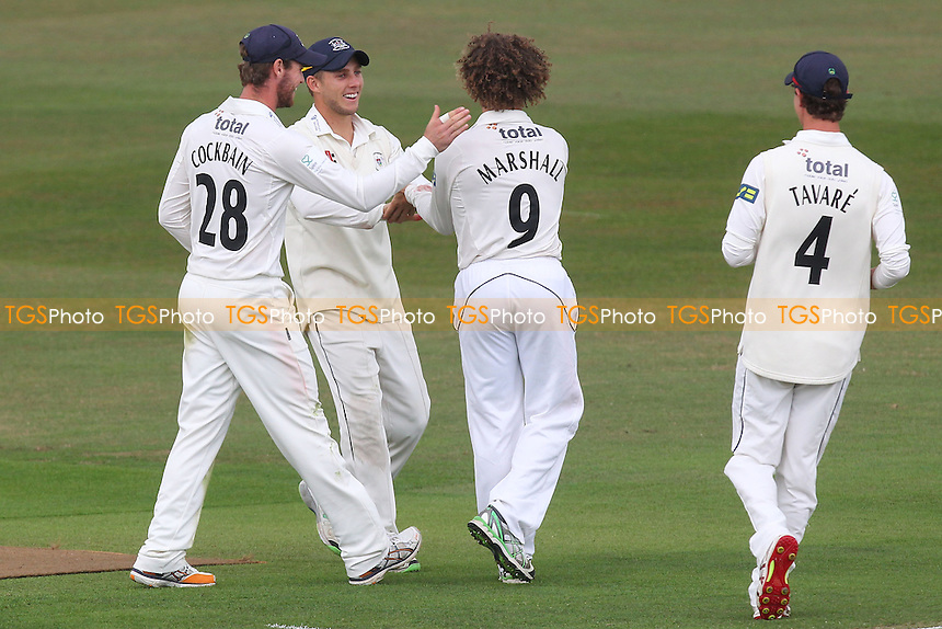 Hamish Marshall (9) of Gloucestershire celebrates the wicket of Tom Westley with his team mates - Essex CCC vs Gloucestershire CCC - LV County Championship Division Two Cricket at the Ford County Ground, Chelmsford - 30/06/14 - MANDATORY CREDIT: Gavin Ellis/TGSPHOTO - Self billing applies where appropriate - contact@tgsphoto.co.uk - NO UNPAID USE
