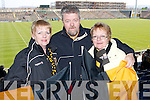 Proudly waving the Crokes flags in Portlaoise on Sunday were Marguerite McMahon and Jerry and Marie OGrady. .