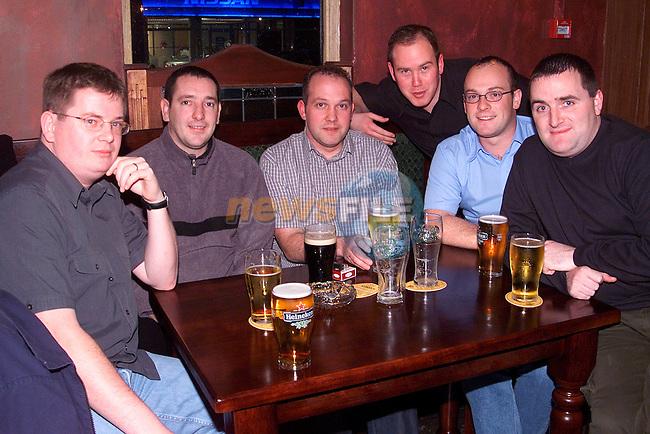 Alfie Sawyer, Declan Ryan, Alan Martin, Kieran O'Sullivan, Karl Macken and Gerald Sawyer enjoying a night out in Mother Hughes..Picture: Paul Mohan/Newsfile