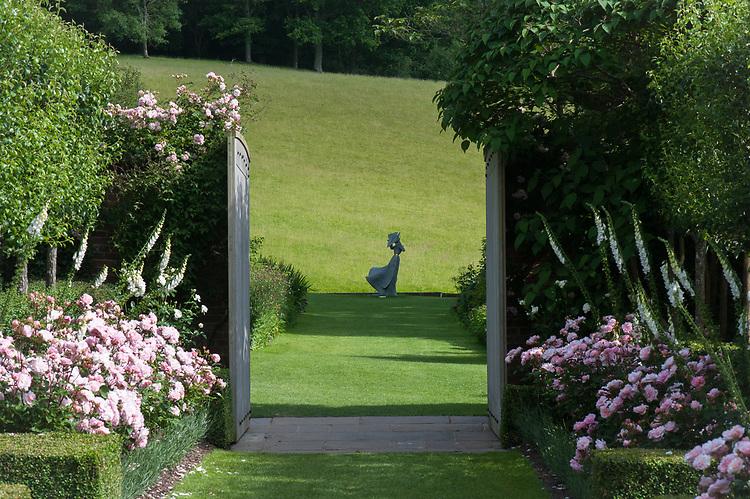 View across ha-ha to parkland, Pashley Manor, mid June.