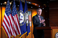 United States Representative Kevin McCarthy (Republican of California) speaks during a news conference at the United States Capitol in Washington D.C., U.S., on Wednesday, March 25, 2020.  McCarthy stated that he does not believe the Coronavirus Stimulus Package would pass the United States House of Representatives by unanimous consent, calling for a voice vote and debate when the bill is sent over. Credit: Stefani Reynolds / CNP/AdMedia
