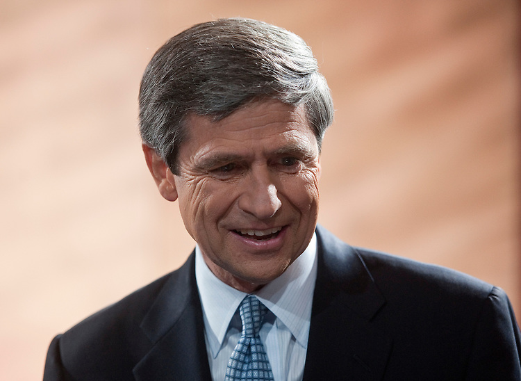 UNITED STATES - OCTOBER 20: Democratic candidate Joe Sestak arrives on stage before the start of his debate with Republican Senate candidate Pat Toomey at the National Constitution Center in Philadelphia on Wednesday, Oct. 20, 2010. (Photo By Bill Clark/Roll Call via Getty Images)