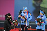 SCHAATSEN: GRONINGEN: Sportcentrum Kardinge, 18-01-2015, KPN NK Sprint, Eindpodium Dames, Laurine van Riessen, Thijsje Oenema, Margot Boer, ©foto Martin de Jong