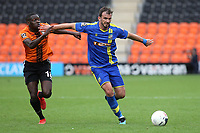 Gavin Gunning of Solihull Moors tries to shake off a challenge from Barnet's Wesley Fonguck during Barnet vs Solihull Moors, Vanarama National League Football at the Hive Stadium on 28th September 2019