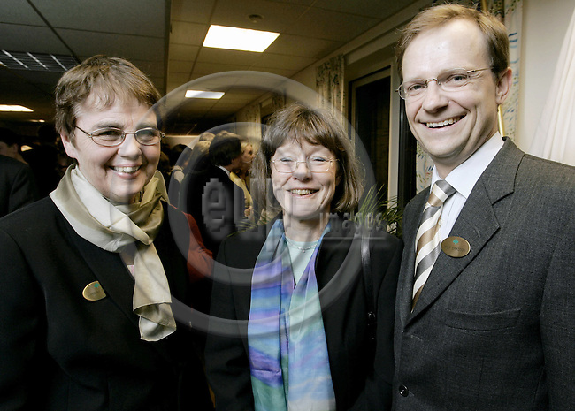 BRUSSELS - BELGIUM - 28 FEBRUARY 2005 --The Inauguration of the LRF, Federation of Swedish Farmers Brussels Office.--  Caroline TRAPP (L), the President of Federation of Swedish Farmers with the Swedish Agriculture Minister Ann Christin NYKVIST and Rolf ERIKSSON the Head of LRF Brussels Office --  PHOTO: JUHA ROININEN / EUP-IMAGES