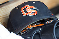Oregon State Beavers hat before Game 11 of the 2013 Men's College World Series against the Mississippi State Bulldogs on June 21, 2013 at TD Ameritrade Park in Omaha, Nebraska. (Andrew Woolley/Four Seam Images)