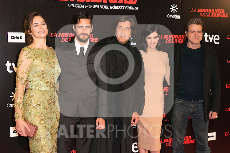 "Crew Of The Movie attends ""La Ignorancia de la Sangre"" Premiere at Capitol Cinema in Madrid, Spain. November 13, 2014. (ALTERPHOTOS/Carlos Dafonte)"