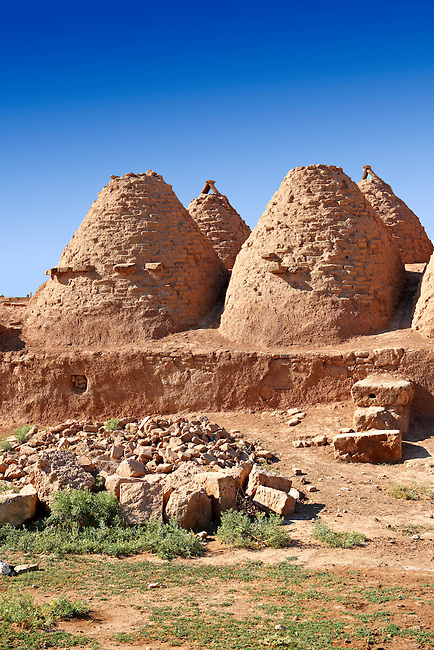 """Pictures of the beehive adobe buildings of Harran, south west Anatolia, Turkey.  Harran was a major ancient city in Upper Mesopotamia whose site is near the modern village of Altınbaşak, Turkey, 24 miles (44 kilometers) southeast of Şanlıurfa. The location is in a district of Şanlıurfa Province that is also named """"Harran"""". Harran is famous for its traditional 'beehive' adobe houses, constructed entirely without wood. The design of these makes them cool inside. 8"""