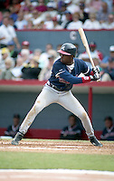 Atlanta Braves Deion Sanders (20) during spring training circa 1992 at Chain of Lakes Park in Winter Haven, Florida.  (MJA/Four Seam Images)