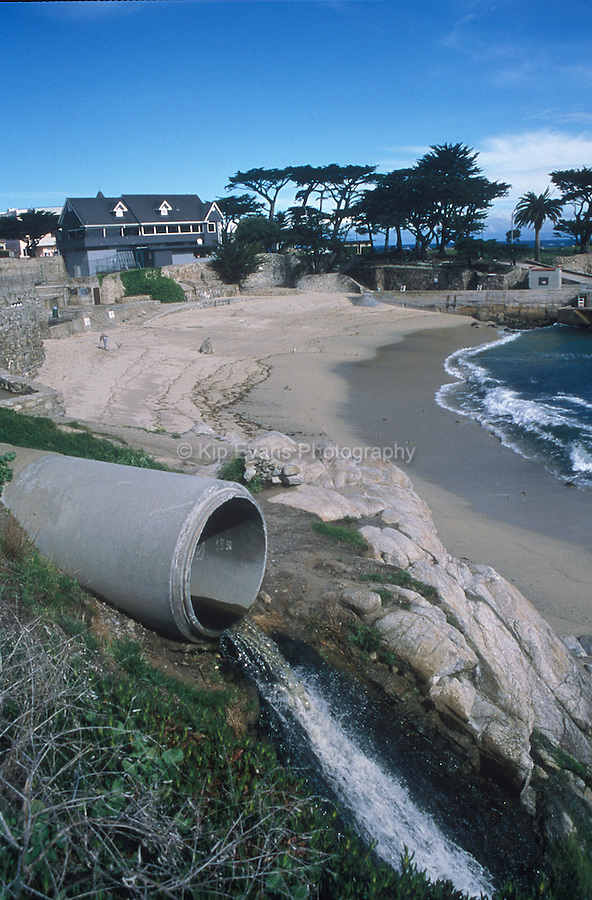 Urban land runoff drains into the ocean.