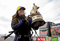 Feb 23, 2014; Chandler, AZ, USA; NHRA funny car driver Alexis DeJoria celebrates after winning the Carquest Auto Parts Nationals at Wild Horse Motorsports Park. Mandatory Credit: Mark J. Rebilas-USA TODAY Sports