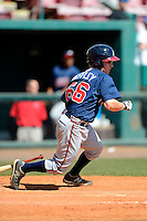 Atlanta Braves infielder Ross Heffley #66 during a minor league Spring Training game against the Baltimore Orioles at Al Lang Field on March 13, 2013 in St. Petersburg, Florida.  (Mike Janes/Four Seam Images)