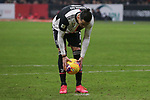 Cristiano Ronaldo of Juventus positions the ball for his penalty that was duly scored to level the tie at 1-1 during the Coppa Italia match at Giuseppe Meazza, Milan. Picture date: 13th February 2020. Picture credit should read: Jonathan Moscrop/Sportimage