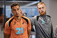 (L-R) Courtney Baker-Richardson and Oliver McBurnie exercise in the gym during the Swansea City Training Session at The Fairwood Training Ground, Swansea, Wales, UK. Thursday 27 September 2018