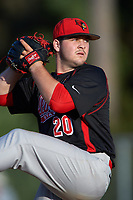 Illinois State Redbirds relief pitcher Mitch Vogrin (20) delivers a pitch during a game against the Indiana Hoosiers on March 4, 2016 at North Charlotte Regional Park in Port Charlotte, Florida.  Indiana defeated Illinois State 14-1.  (Mike Janes/Four Seam Images)