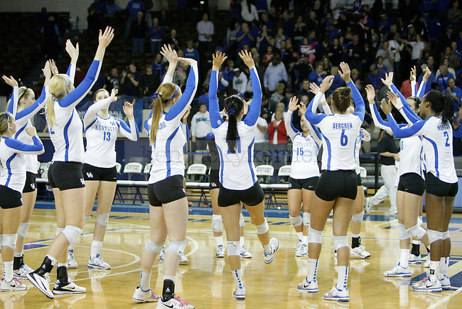 The team does a cheer after the game win of the UK women's volleyball game v. East Tennessee University during the NCAA tournament in Memorial Coliseum in Lexington, Ky., on Friday, November 30, 2012. Photo by Genevieve Adams | Staff