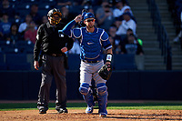 Toronto Blue Jays catcher Caleb Joseph (7) and umpire Jerry Layne during a Spring Training game against the New York Yankees on February 22, 2020 at the George M. Steinbrenner Field in Tampa, Florida.  (Mike Janes/Four Seam Images)