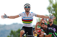 ESPAÑA, 30-08-2019: Alejandro Valverde (ESP - MOVISTAR) celebra tras ganar la etapa 7, hoy, 30 de agosto de 2019, que se corrió entre Onda y Mas de la Costa con una distancia de 183,2 km como parte de La Vuelta a España 2019 que se disputa entre el 24/08 y el 15/09/2019 en territorio Español. / Alejandro Valverde (ESP - MOVISTAR) celebrates after winning the stage 7 today, August 30, 2019, from Onda to Mas de la Costa with a distance of 183,2 km as part of Tour of Spain 2019 which takes place between 08/24 and 09/15/2019 in Spain.  Photo: VizzorImage / Luis Angel Gomez / ASO<br /> VizzorImage PROVIDES THE ACCESS TO THIS PHOTOGRAPH ONLY AS A PRESS AND EDITORIAL SERVICE AND NOT IS THE OWNER OF COPYRIGHT; ANOTHER USE HAVE ADDITIONAL PERMITS AND IS  REPONSABILITY OF THE END USER