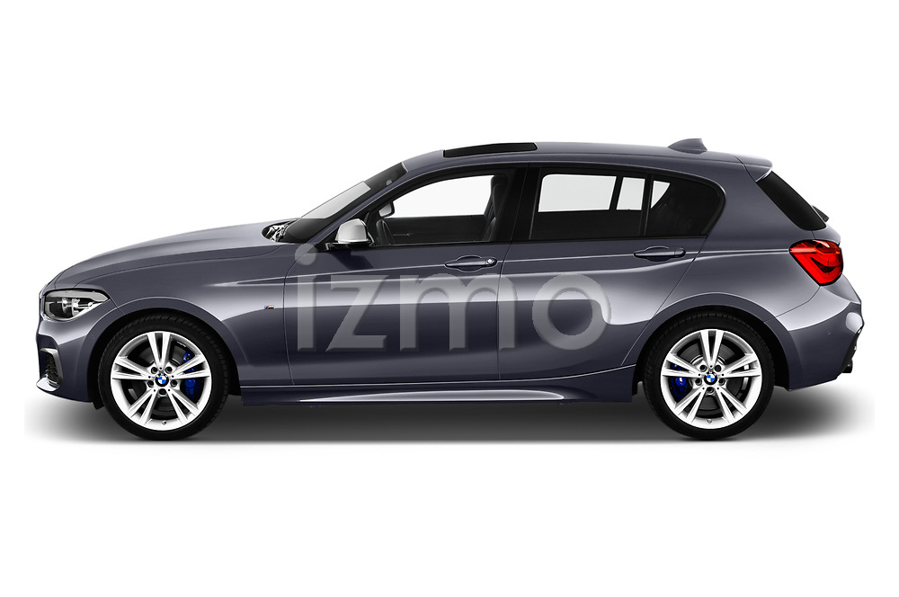 Car driver side profile view of a 2018 BMW 1 Series Base 5 Door Hatchback