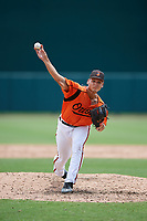 GCL Orioles relief pitcher Nick Vichio (24) delivers a pitch during a game against the GCL Rays on July 21, 2017 at Ed Smith Stadium in Sarasota, Florida.  GCL Orioles defeated the GCL Rays 9-0.  (Mike Janes/Four Seam Images)
