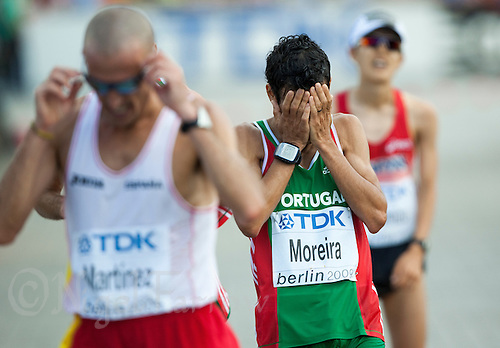 22 AUG 2009 - BERLIN, GER - Jose Moreira (POR) finishes the Mens Marathon at the World Athletics Championships .(PHOTO (C) NIGEL FARROW)
