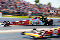 Jun 8, 2019; Topeka, KS, USA; NHRA top fuel driver Leah Pritchett during qualifying for the Heartland Nationals at Heartland Motorsports Park. Mandatory Credit: Mark J. Rebilas-USA TODAY Sports