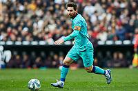 25th January 2020; Mestalla, Valencia, Spain; La Liga Football,Valencia versus Barcelona; Lionel Messi of FCB brings the ball forward