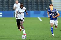 30th July 2020; Craven Cottage, London, England; English Championship Football Playoff Semi Final Second Leg, Fulham versus Cardiff City; Joshua Onomah of Fulham takes on Will Vaulks of Cardiff City