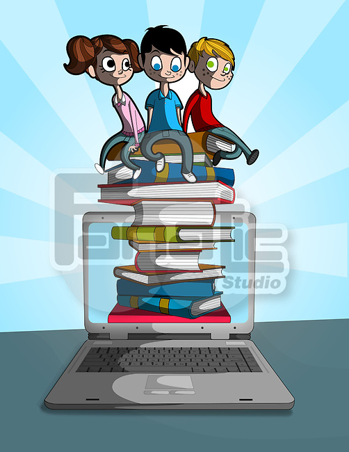 Illustrative image of children sitting on stacked books coming out from laptop representing online learning