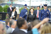 Arlington, VA - September 11, 2008 -- First lady Laura Bush arrives at the Pentagon Memorial dedication ceremony Sept. 11, 2008. The national memorial is the first to be dedicated to those killed at the Pentagon on Sept. 11, 2001. The site contains 184 inscribed memorial units honoring the 59 people aboard American Airlines Flight 77 and the 125 in the building who lost their lives that day. .Credit: Jerry Morrison - DoD via CNP
