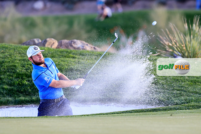 Tyrrell Hatton (ENG)  on the 12th green during the 2nd round of the Waste Management Phoenix Open, TPC Scottsdale, Scottsdale, Arisona, USA. 01/02/2019.<br /> Picture Fran Caffrey / Golffile.ie<br /> <br /> All photo usage must carry mandatory copyright credit (&copy; Golffile | Fran Caffrey)
