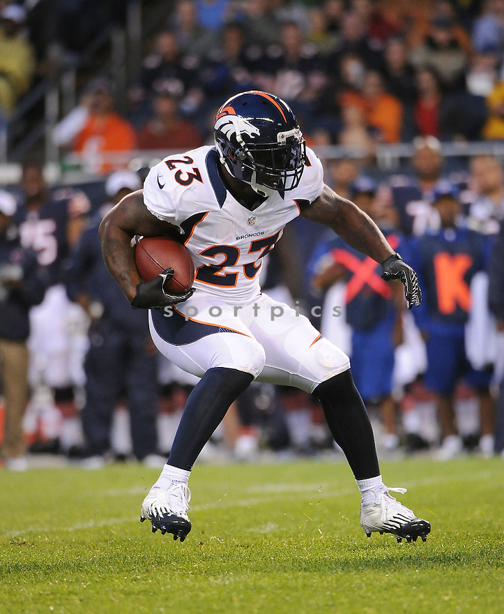 WILLIS MCGAHEE (23), of the Denver Broncos, in action during the Broncos preseason game against the Chicago Bears on August 9, 2012 at Soldier Field in Chicago, IL. The Broncos beat the Bears 31-3.