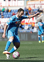 Calcio, Serie A: Roma vs Napoli. Roma, stadio Olimpico, 25 aprile 2016.<br /> Napoli&rsquo;s Gonzalo Higuain in action during the Italian Serie A football match between Roma and Napoli at Rome's Olympic stadium, 25 April 2016. <br /> UPDATE IMAGES PRESS/Isabella Bonotto