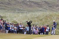 Rory McIlroy (NIR) plays his 2nd shot on the 15th hole during Friday's Round 2 of the 2018 Dubai Duty Free Irish Open, held at Ballyliffin Golf Club, Ireland. 6th July 2018.<br /> Picture: Eoin Clarke | Golffile<br /> <br /> <br /> All photos usage must carry mandatory copyright credit (&copy; Golffile | Eoin Clarke)